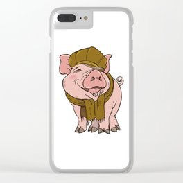 Pig in hat and scarf Clear iPhone Case
