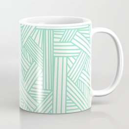 Sketchy Abstract (Mint & White Pattern) Coffee Mug