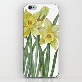 Watercolor Daffodils Botanical Illustration iPhone Skin