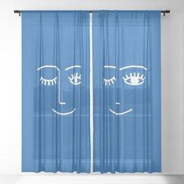 Wink (Sapphire Blue) Sheer Curtain