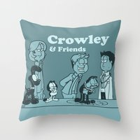 crowley Throw Pillows featuring Crowley & Friends - Supernatural by Justyna Rerak