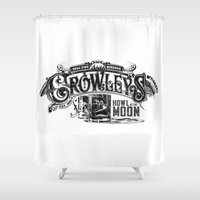 crowley Shower Curtains featuring Supernatural Crowley's Hell Fire Reserve by Ryan Huddle House of H