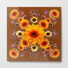 COFFEE BROWN GOLDEN SUNFLOWER MODERN ART DESIGN Metal Print