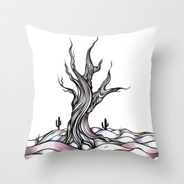 The Dying Tree Pastel Throw Pillow