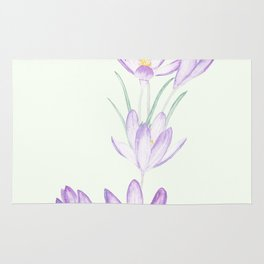 purple botanical crocus flowers Rug