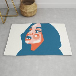 Fashion inspired - beautiful woman in a hood in simplified abstract vector shapes Rug