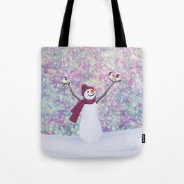 snowman and chickadees Tote Bag