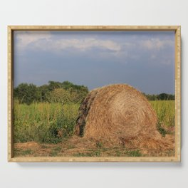 Kansas Hay Bale in a Farm Field Serving Tray