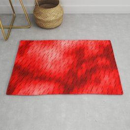 Line texture of red oblique dashes with a luminous intersection on a luminous charcoal. Rug