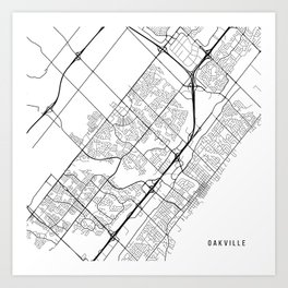 Oakville Map, Canada - Black and White Art Print