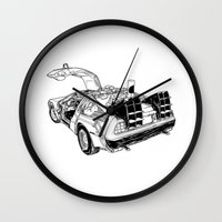 delorean Wall Clocks featuring delorean by marzini