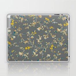 vintage floral vines - greys & mustard Laptop & iPad Skin