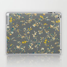 vintage floral vines - greys & mustard Laptop & iPad Skin