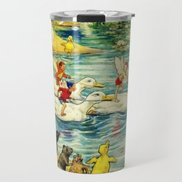 """""""Duck Racing in the Pond"""" by Margaret Tarrant Travel Mug"""