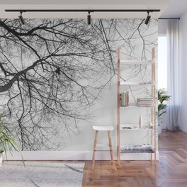 Bare Branches Hold Heart Nest Wall Mural