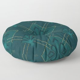 Elegant Art Deco Pattern Gold And Emerald Green Floor Pillow