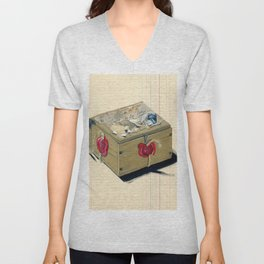 Old French Wood Box in Gouache Unisex V-Neck