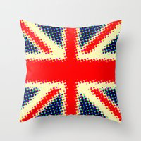 union jack Throw Pillows featuring Union Jack by deff