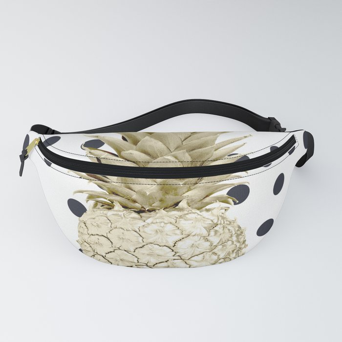 88c10e3da769 Gold Pineapple on Black and White Polka Dots Fanny Pack by followmeinstead