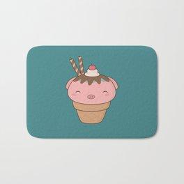 Kawaii Cute Pig Ice Cream Cone Bath Mat
