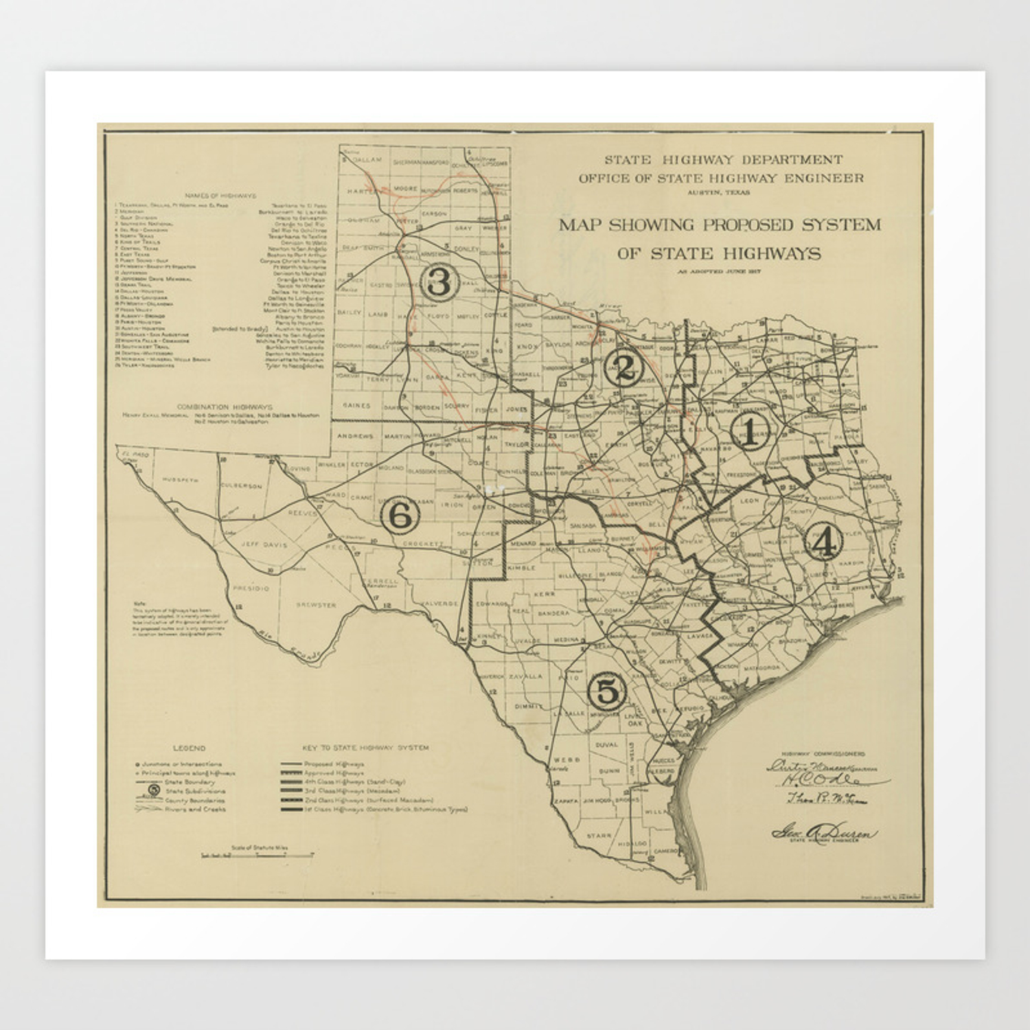 Vintage Texas Highway Map 1917 Art Print By Bravuramedia Society6