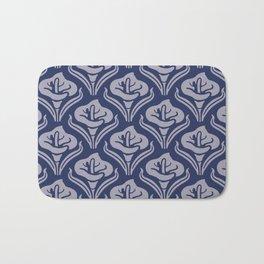 Calla Lily Pattern Blue and Gray Bath Mat
