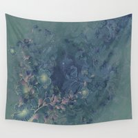 vintage floral Wall Tapestries featuring Vintage floral by nicky2342