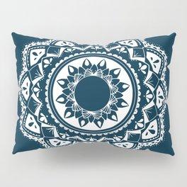 Warrior white mandala on blue Pillow Sham