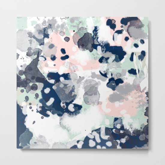 Melia - abstract minimal painting acrylic watercolor nursery mint navy pink Metal Print