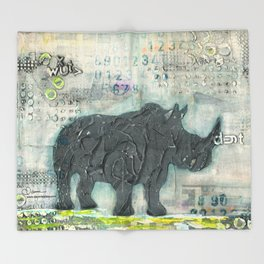 Majestic Series: Rhino on a roll Throw Blanket