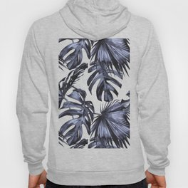 Classic Palm Leaves Navy Blue Hoody