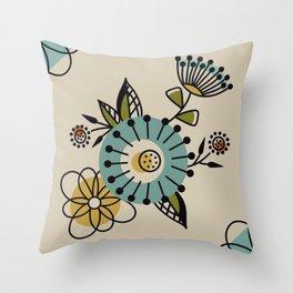 Mid Century Modern Flowers Throw Pillow