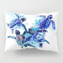 Sea Turtles, Marine Blue underwater Scene artwork Pillow Sham