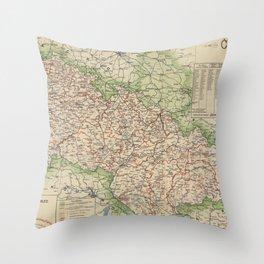 Vintage Map of The Czech Republic (1920) Throw Pillow