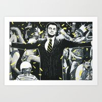 wolf of wall street Art Prints featuring Wolf of Wall Street by ArtCandy Studio