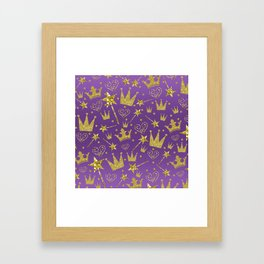 Purple & Gold Glitter Princess Framed Art Print