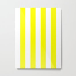 Vertical Stripes - White and Yellow Metal Print