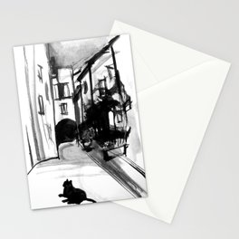 Cat in Bormes-les-Mimosas Painting Stationery Cards