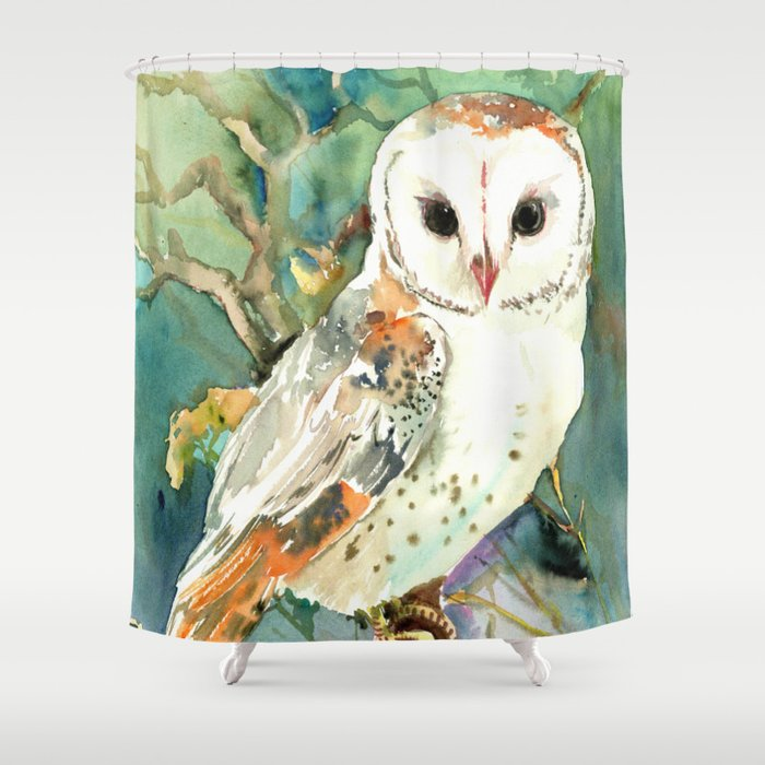 Barn Owl Woodland Design Shower Curtain