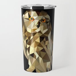 owl in brown and gold abstract geometric origami pattern on black background Travel Mug