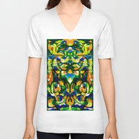 mask V-neck T-shirts featuring Mask by András Récze