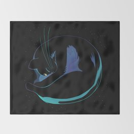 Sleeping MoonCat (fluorescent variant) Throw Blanket