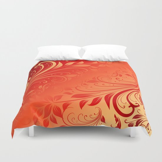 Orange red swirls leaves  Duvet Cover