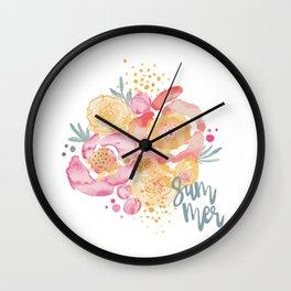 Summer Garden Bouquet - Watercolor Flowers Wall Clock