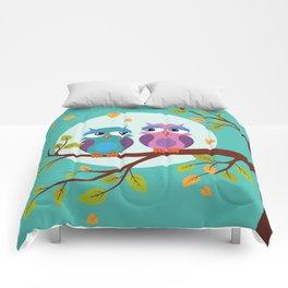 Sleepy owls in love Comforters