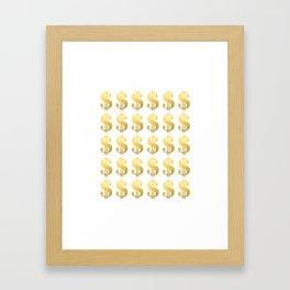 Gold Money - modern sparkle gold foil trendy hipster urban beach summer fresh pattern money sign  Framed Art Print
