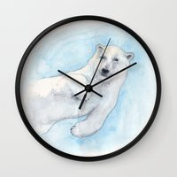 polar bear Wall Clocks featuring Polar bear underwater by Savousepate