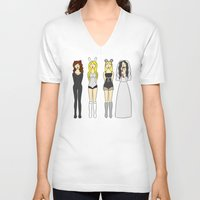 mean girls V-neck T-shirts featuring Mean Girls Halloween by CozyReverie