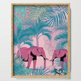 Pink Elephants Jungle Walk Serving Tray