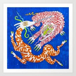 八 Perpetuation (White Tiger Chases Antelope in the Blue Dimension) Art Print